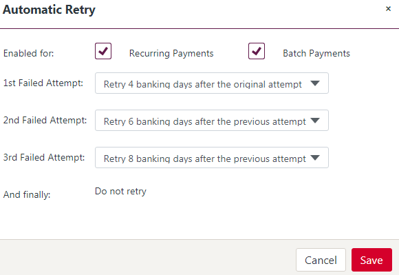 Manage your Automatic Retry of Failed Payments Schedule