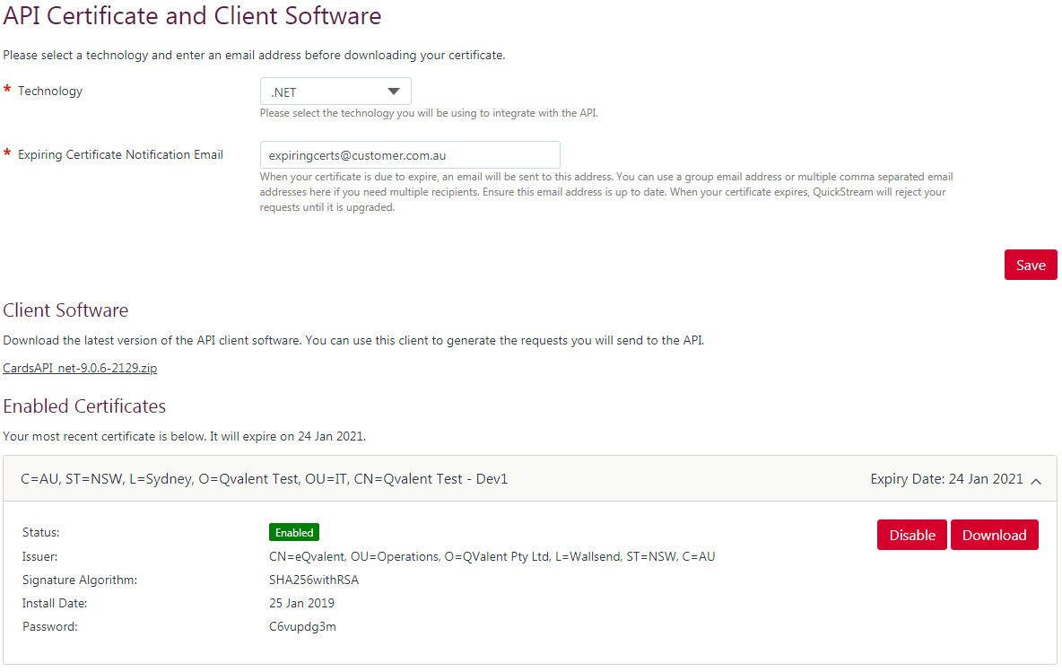 API Certificate and Client Software page. Java is chosen as the integration technology and the latest certificate is available for download.
