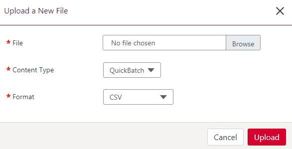 An image of the modal requiring the user to choose a payment file and select the file format.