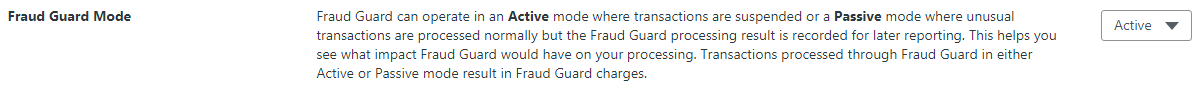 An image of the Fraud Guard mode set to Active.