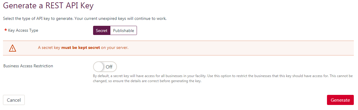 An image of the REST API keys page showing a Secret REST API key being generated without business restrictions.