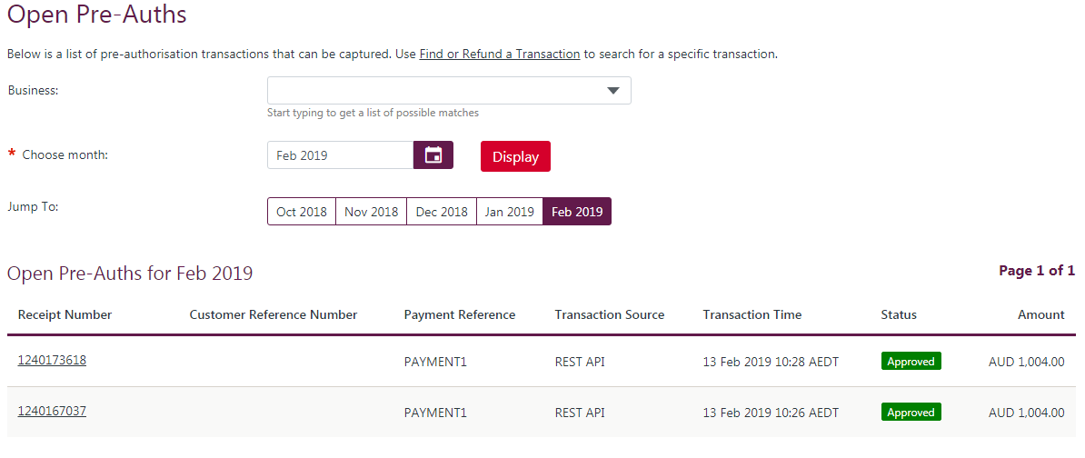 Open Pre-Auths page showing 3 pre-authorisation transactions that have not been captured.