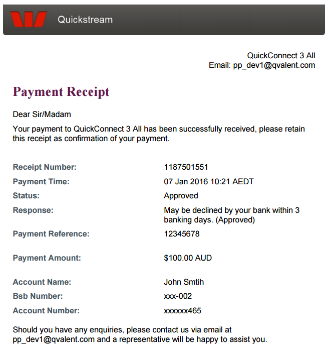 Receipt page with bank account