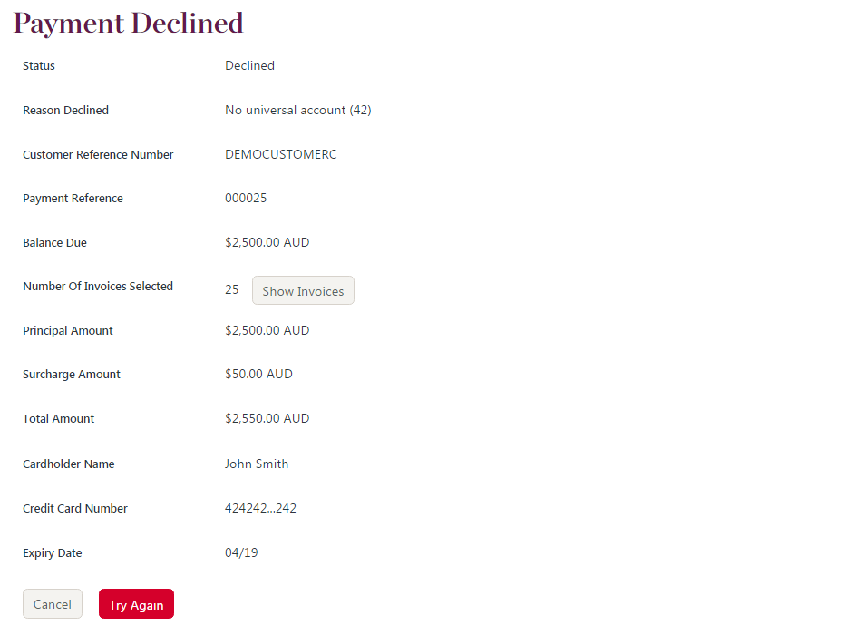 declined payment receipt example